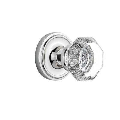 Classic Rosette 2-3/8 in. Backset Bright Chrome Privacy Bed/Bath Waldorf Door Knob