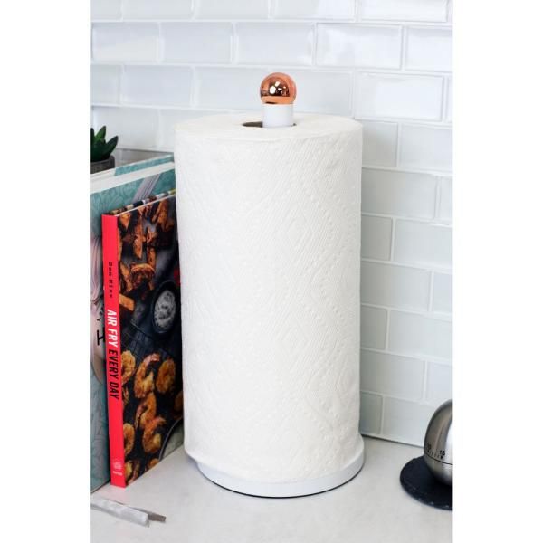 Weighted Base Beige Home Basics Easy Tear Bamboo Paper Towel Holder Dispenser Organizing Stand