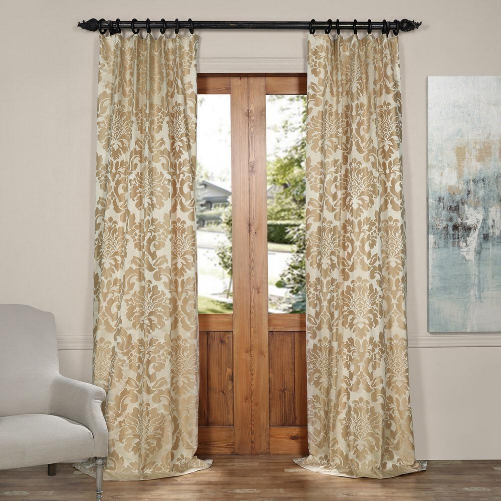 Exclusive Fabrics & Furnishings Astoria Tan and Ecru Faux Silk Jacquard Curtain Panel - 50 inch W x 84 inch L by Exclusive Fabrics & Furnishings