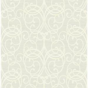 Silverton Blue Mist & Pearl Rustic Scroll Strippable Wallpaper