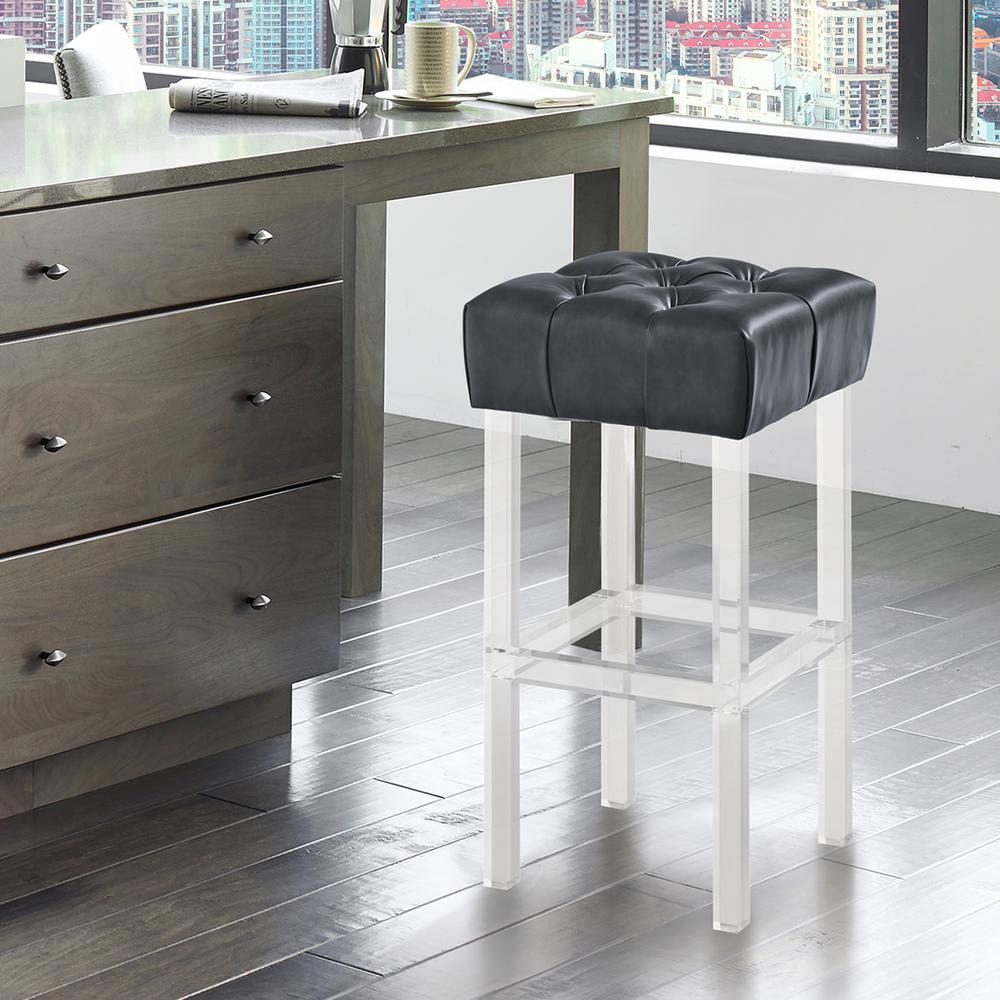 Kara Contemporary 30 in. Grey Faux Leather Bar Height Barstool with