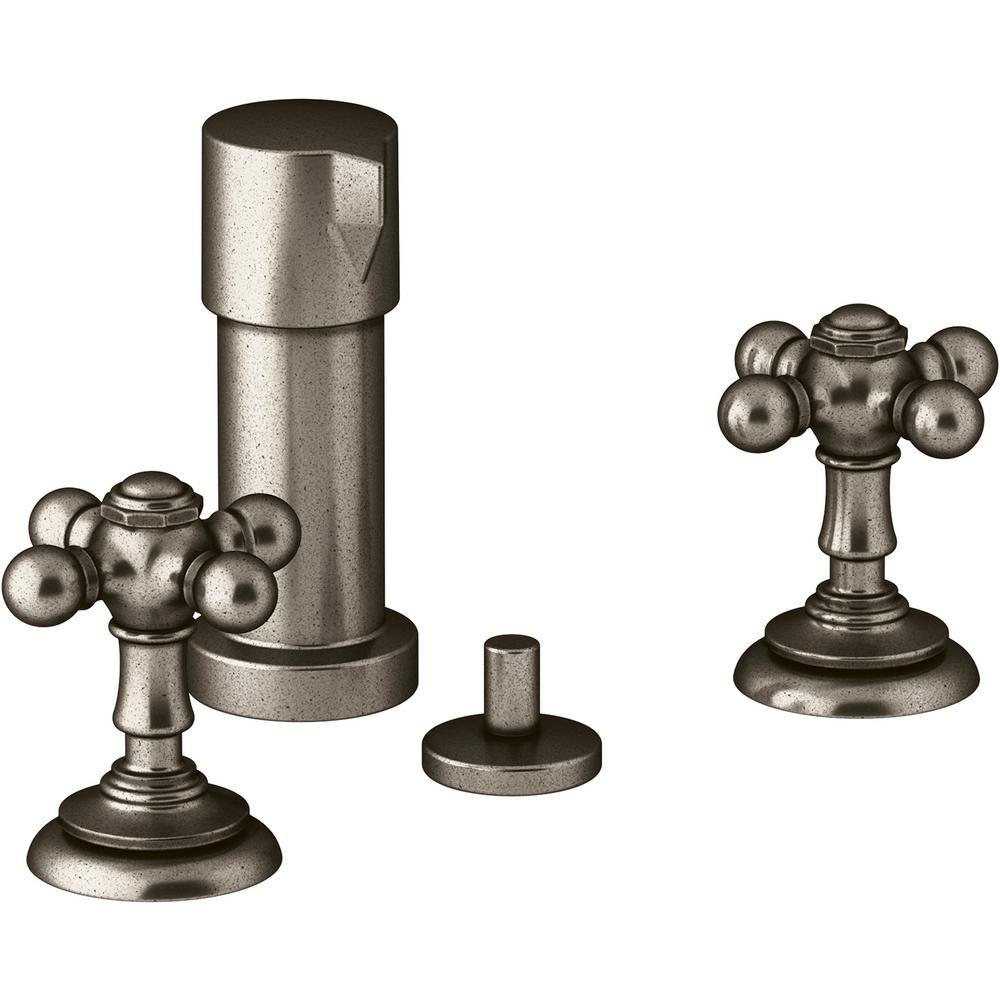 Kohler Artifacts 2 Handle Widespread Bidet Faucet With Cross Handles