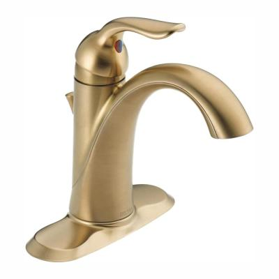 Lahara Single Hole Single-Handle Bathroom Faucet with Metal Drain Assembly in Champagne Bronze
