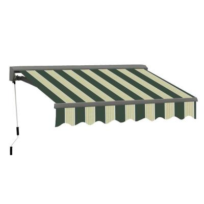 12 ft. Classic C Series Semi-Cassette Electric with Remote Retractable Awning (118in. Projection) in Green/Cream Stripes
