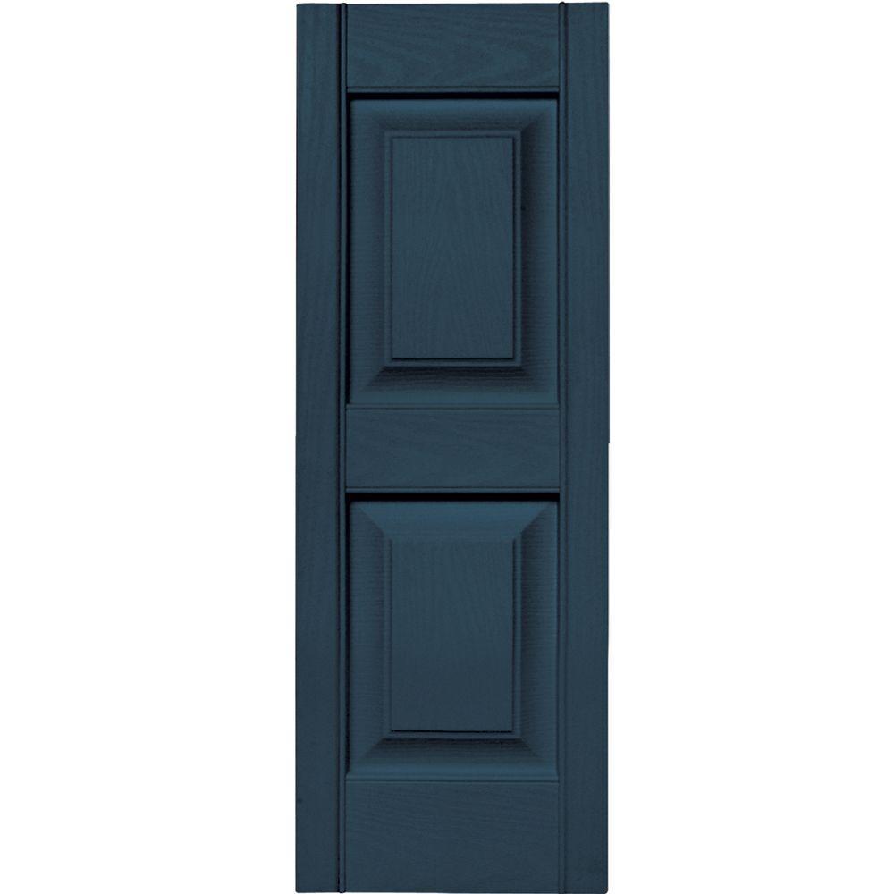 Builders Edge 12 in. x 35 in. Raised Panel Vinyl Exterior Shutters Pair in #036 Classic Blue