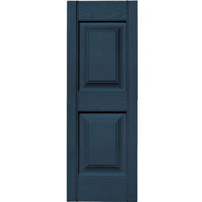 12 in. x 35 in. Raised Panel Vinyl Exterior Shutters Pair in #036 Classic Blue
