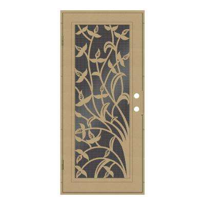 32 in. x 80 in. Yale Desert Sand Left-Hand Surface Mount Security Door with Black Perforated Metal Screen