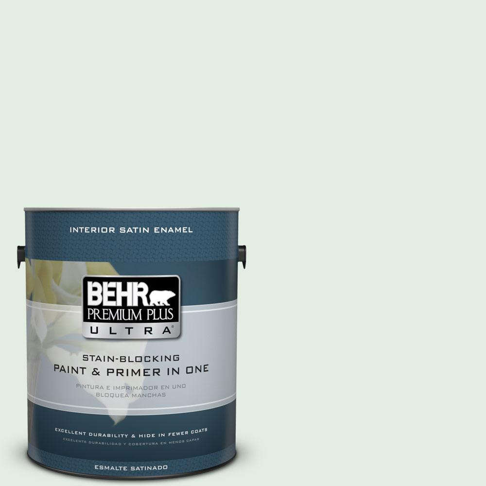 BEHR Premium Plus Ultra 1 gal. #460C-2 Spearmint Stick Satin Enamel Interior Paint and Primer in One