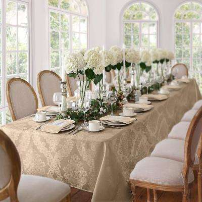 60 in. W x 102 in. L Beige Elrene Barcelona Damask Fabric Tablecloth