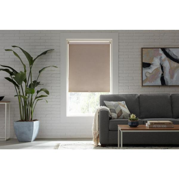 Stylewell Cut To Size Linen Cordless Blackout Fabric Roller Shade 37 25 In W X 72 In L Rsslpnlbosc3772 The Home Depot