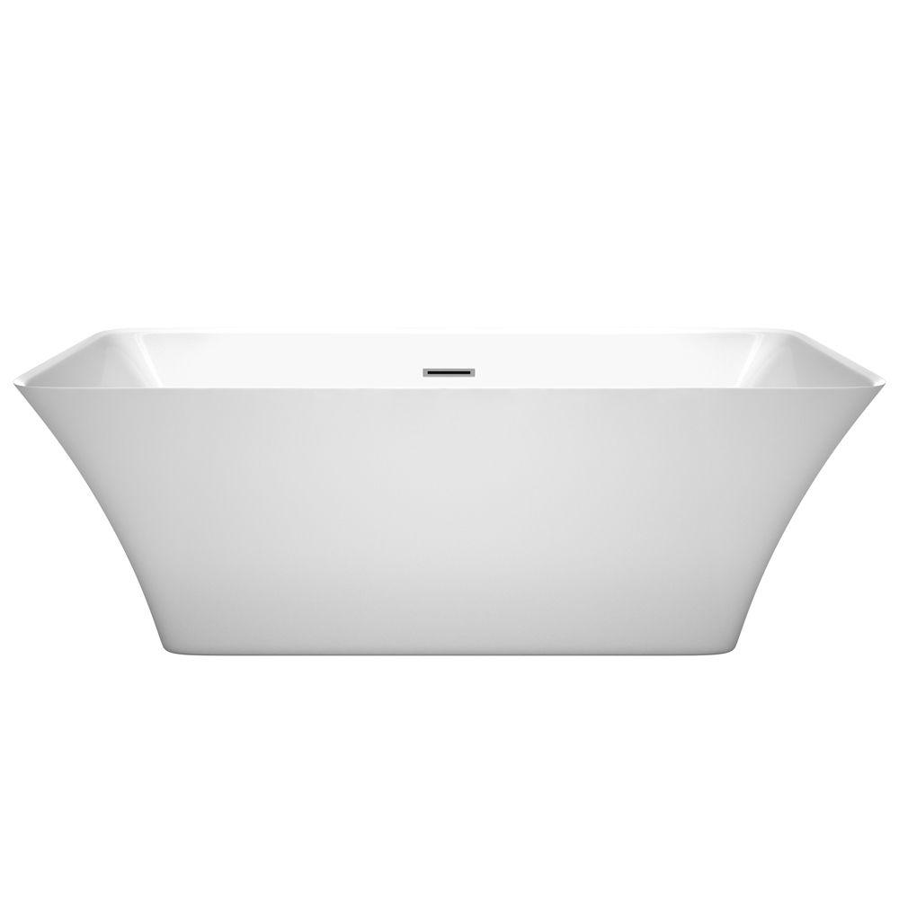 Wyndham Collection Tiffany 67 in. Acrylic Flatbottom Center Drain Soaking Tub in White