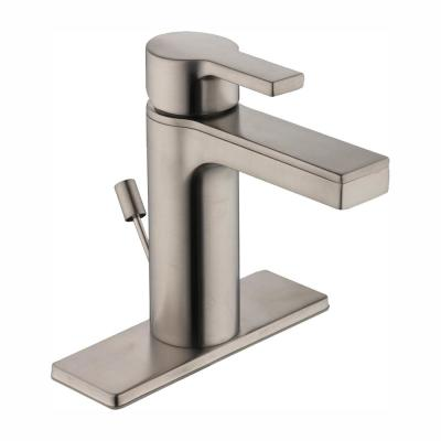 Modern Contemporary Single Hole Single-Handle Low-Arc Bathroom Faucet in Brushed Nickel