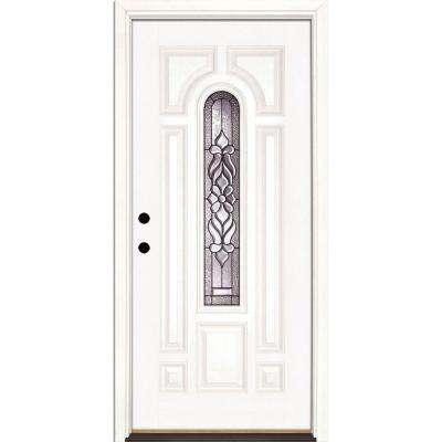 37.5 in. x 81.625 in. Lakewood Patina Center Arch Lite Unfinished Smooth Right-Hand Fiberglass Prehung Front Door