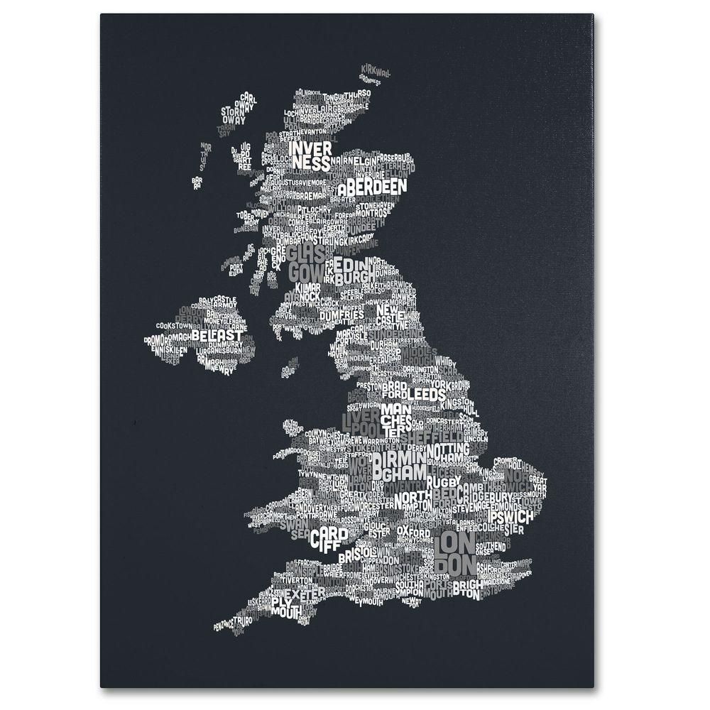 14 in. x 19 in. UK Cities Text Map 4 Canvas
