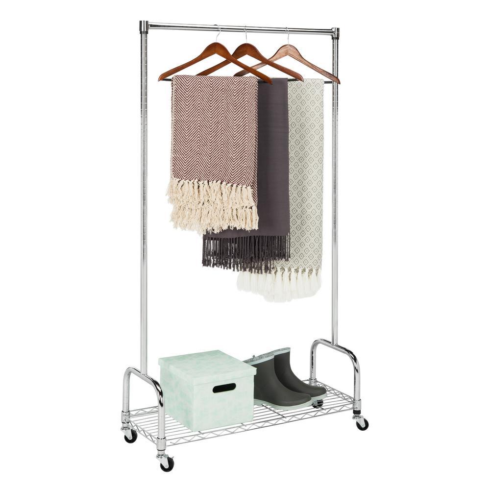 Samantha 35.4 in. x 63 in. Chrome Rolling Garment Rack