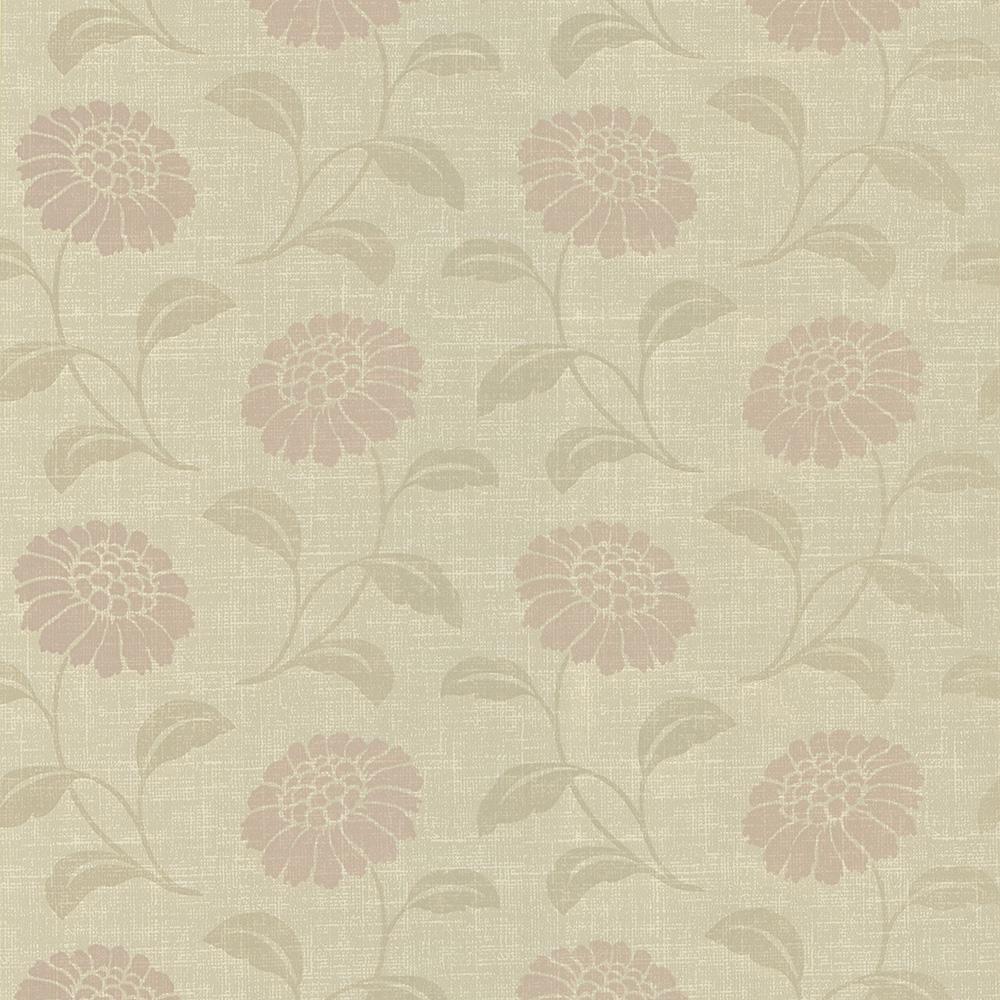 56.4 sq. ft. Peery Beige Modern Floral Silhouette Wallpaper