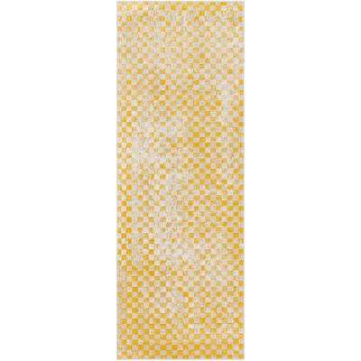 Astvin Mustard 2 ft. 7 in. x 7 ft. 3 in. Geometric Runner Rug