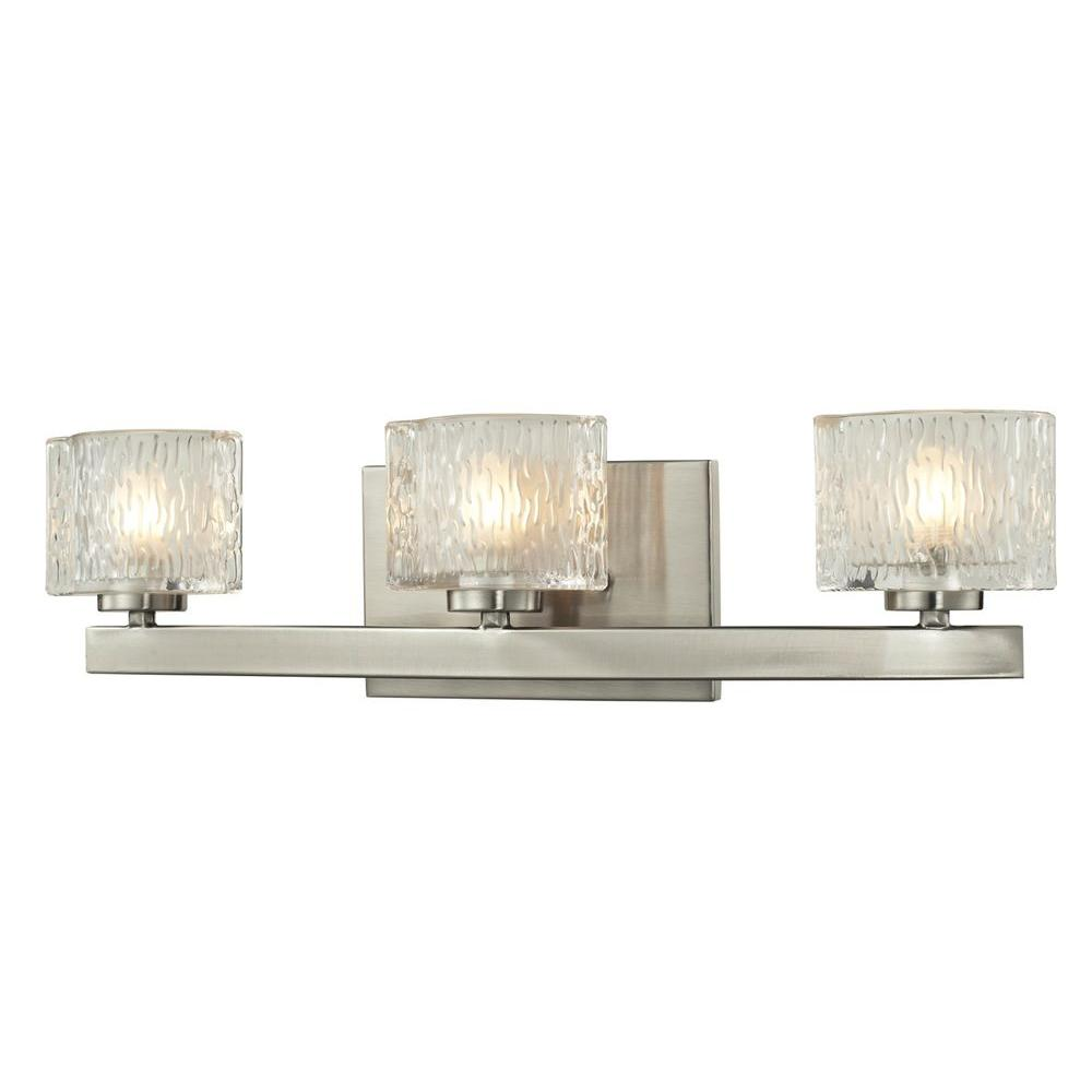 Polished Nickel Bathroom Vanity Light: Filament Design Rainfall 3-Light Brushed Nickel Bath