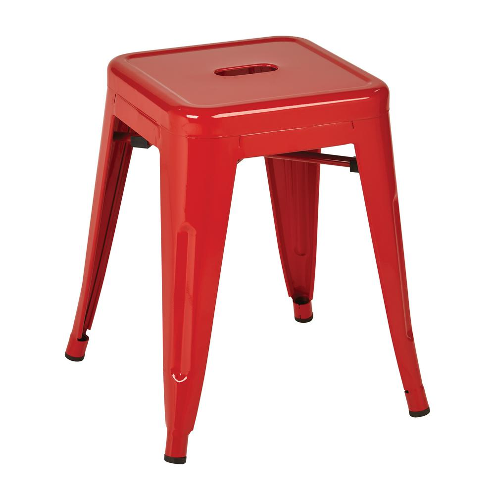Work smart osp designs patterson 18 in red powder coated steel metal backless barstool