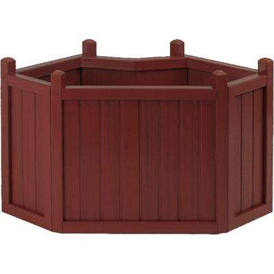 34 in. Mahogany All Weather Composite Corner Planter