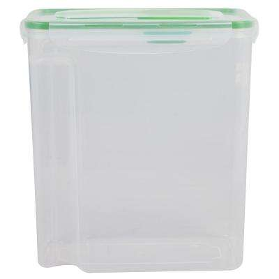 4-Sided Locking Plastic Cereal Storage Container with Spoon