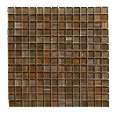 Handicraft II Sante Fe Brown Square Mosaic 1 in. x 1 in. Glossy Glass Mesh Mounted Wall & Pool Tile (1.05 Sq. ft.)