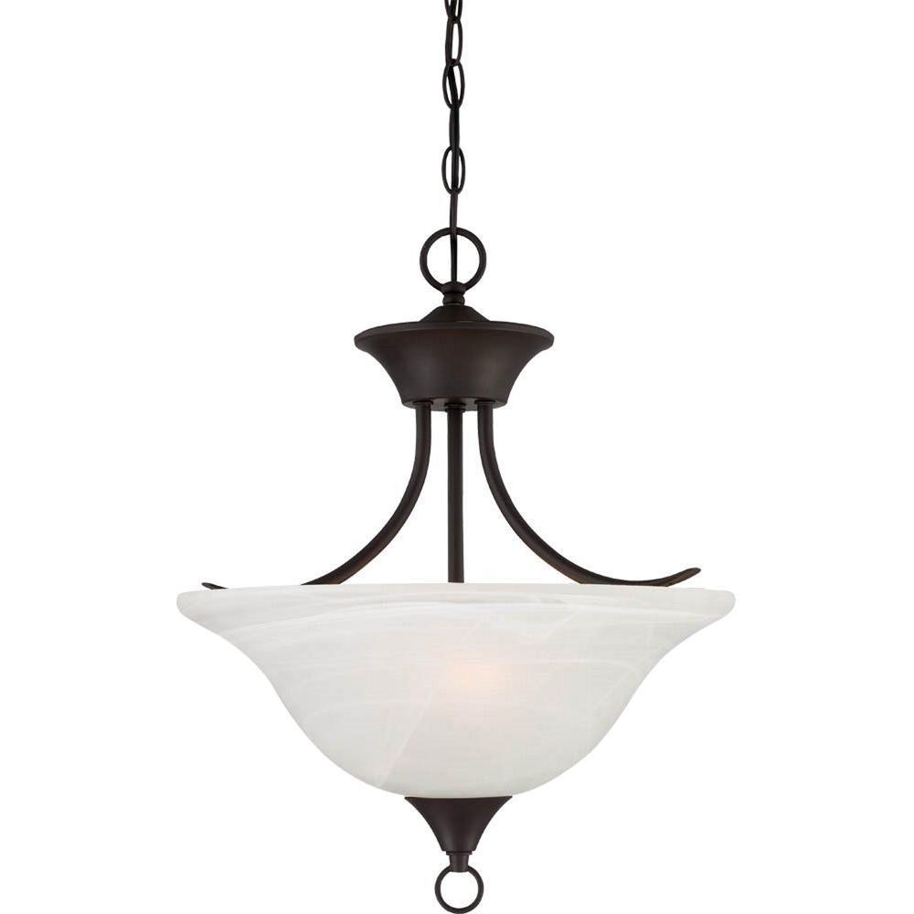 Volume Lighting Trinidad 2-Light Antique Bronze Pendant/Semi Flush-Mount Light