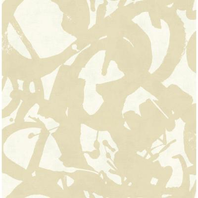 Laverne Metallic Gold and Off-White Graphic Wallpaper