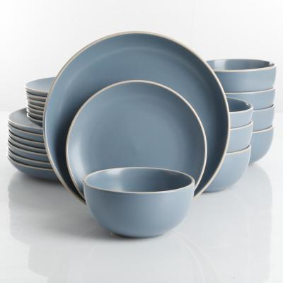 Rockaway 24-Piece Modern Matte Blue Ceramic Dinnerware Set (Service for 8)