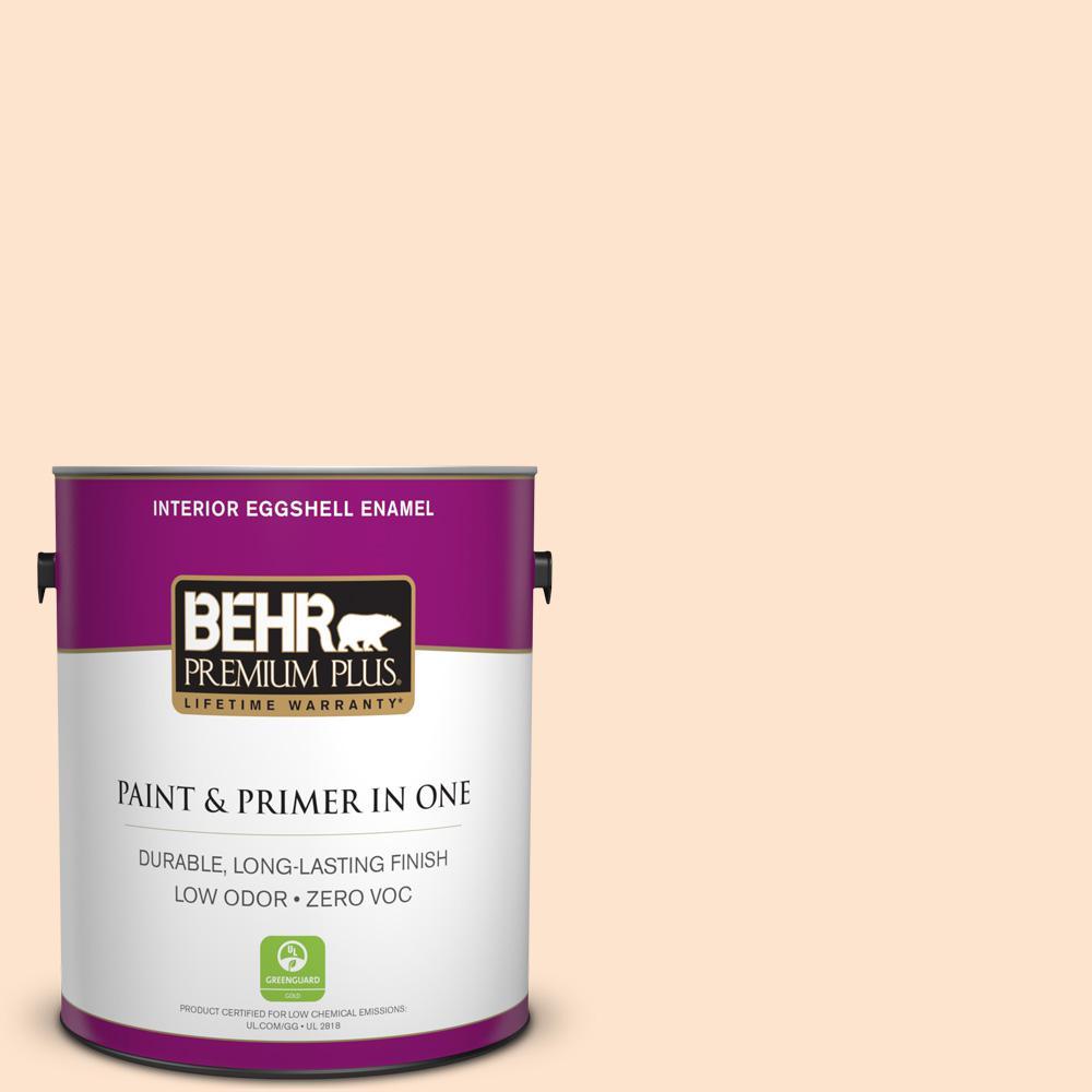 BEHR Premium Plus 1 gal. #PPL-21 Sweet Peach Eggshell Enamel Zero VOC Interior Paint and Primer in One