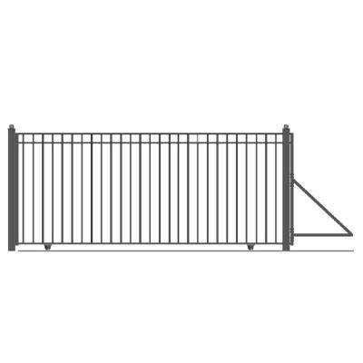 Madrid Style 16 ft. x 6 ft. Black Steel Single Slide Driveway with Gate Opener Fence Gate