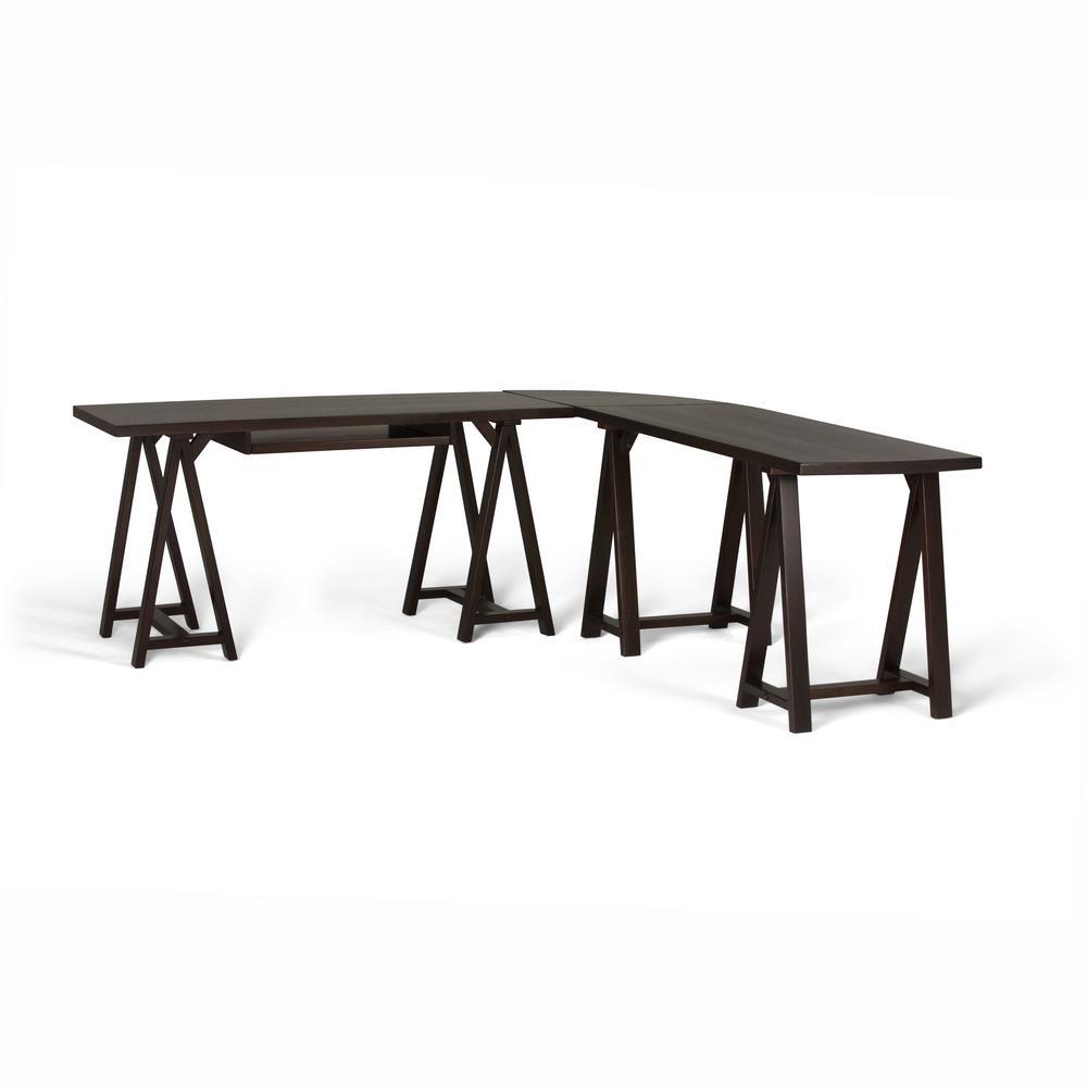 Sawhorse Solid Wood Modern Industrial 84 in. Wide Modern Industrial L-Shape Corner Desk in Dark Chestnut Brown