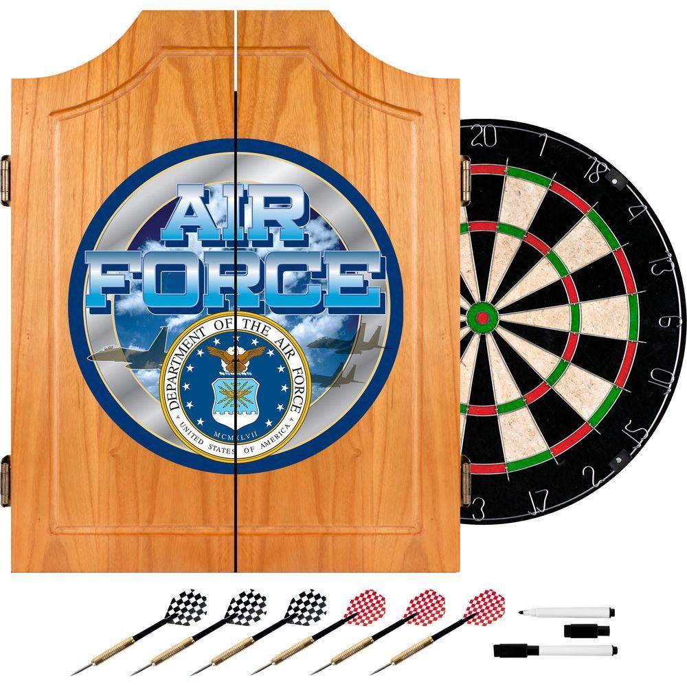 Superieur Trademark US Air Force Wood Finish Dart Cabinet Set