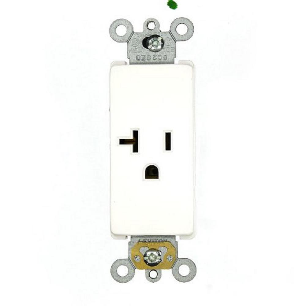 leviton decora 20 amp plus commercial grade self grounding single outlet  white-16351-w
