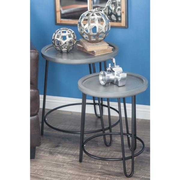 Litton Lane Modern Metal and Wood Accent Tables in Gray (Set