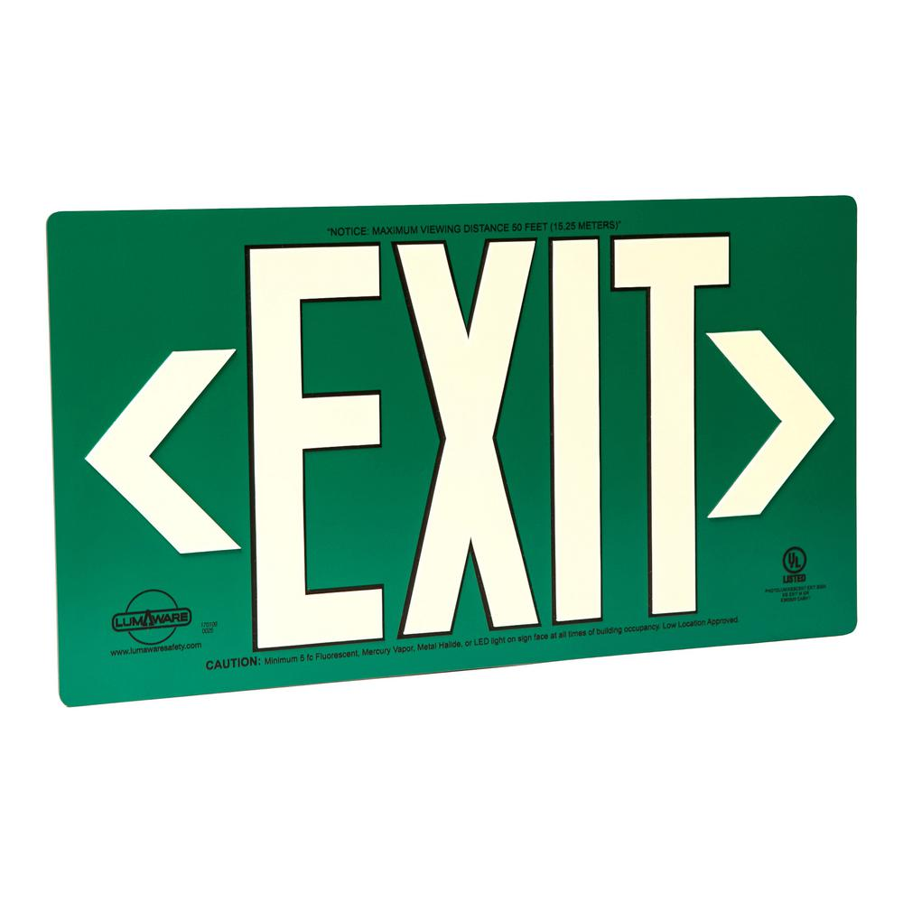 LumAware Green Metal Aluminum Energy-Free Photoluminescent UL924 Emergency Exit Sign with LED Lighting Compliant