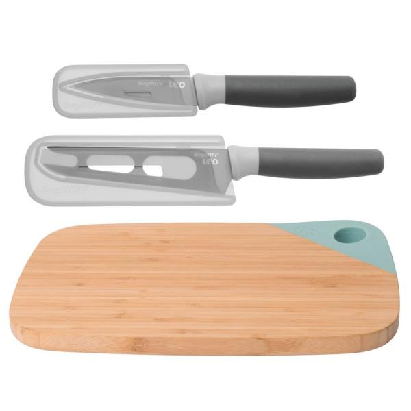 Leo 3-Piece Gray and Green Knife and Cutting Board Set