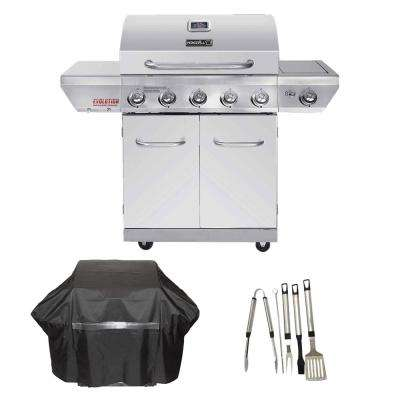 Evolution 5-Burner Propane Gas Grill in Stainless Steel with Side Burner and Infrared Technology Plus Cover and Tool Set