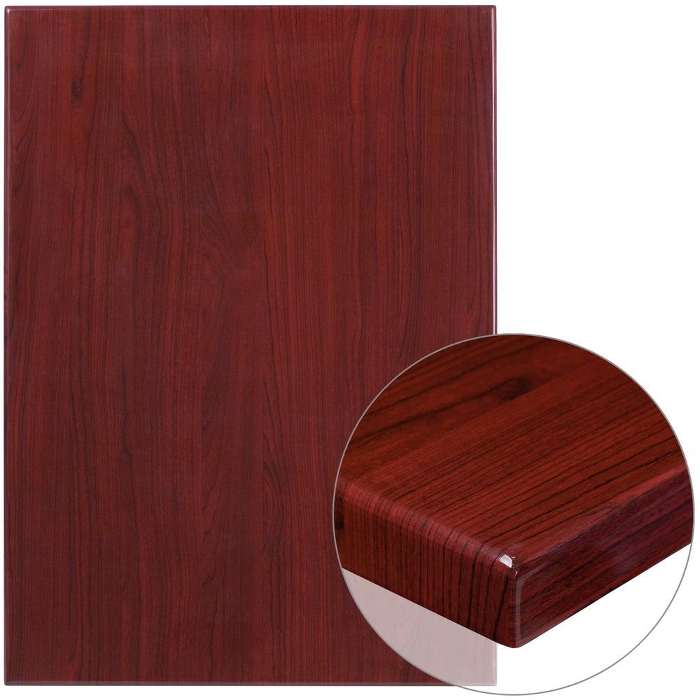 Beau 30u0027u0027 X 42u0027u0027 High Gloss Mahogany Resin Table Top With 2