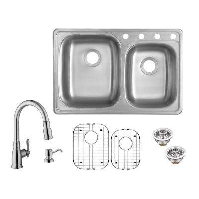 All-in-One Drop-In 20-Gauge Stainless Steel 33 in. 4-Hole 60/40 Double Bowl Kitchen Sink with Pull-Out Kitchen Faucet
