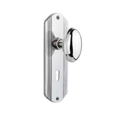 Deco Plate with Keyhole 2-3/4 in. Backset Bright Chrome Privacy Homestead Door Knob