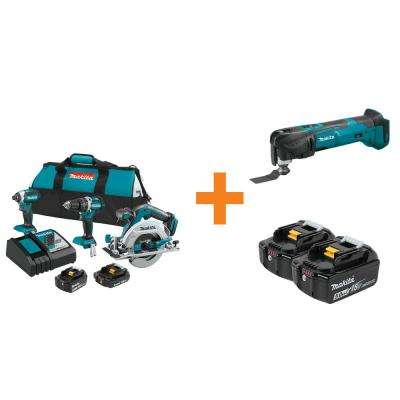 18-Volt LXT Lithium-Ion Brushless Cordless Combo Kit (3-Tool) with Bonus Multi-Tool and 2 Batteries 5.0Ah