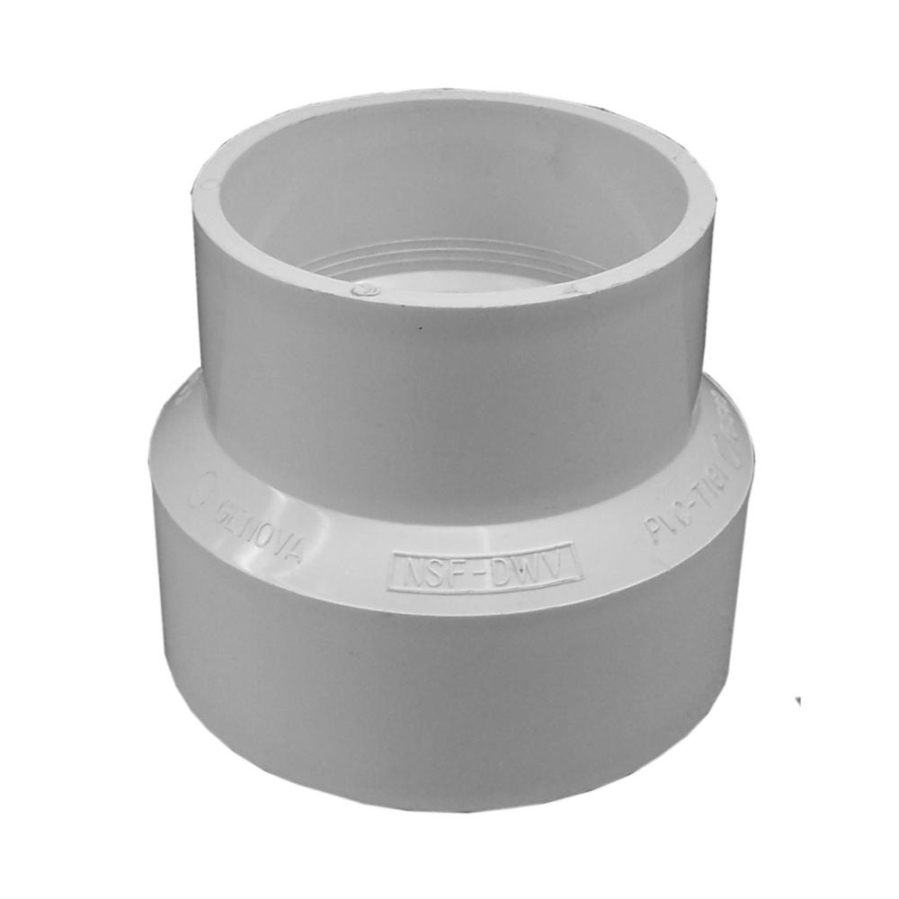 Genova Products 4 in. Sewer x 3 in. Sch 30 PVC Adapter Coupling