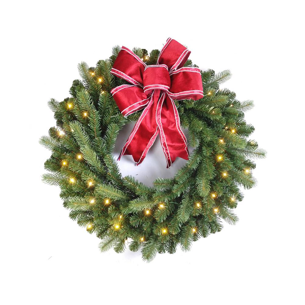 Christmas Ribbon Wreaths.Home Accents Holiday 32 In Pre Lit Led Douglas Artificial Christmas Wreath With 50 Warm White Lights And Red Ribbon