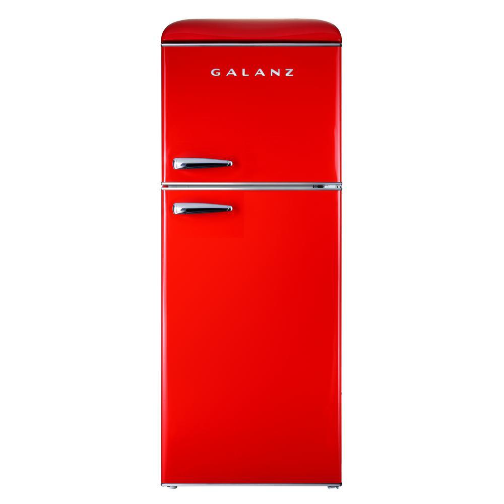 4.6 cu. ft. Retro Mini Fridge with Dual Door True Freezer in Red