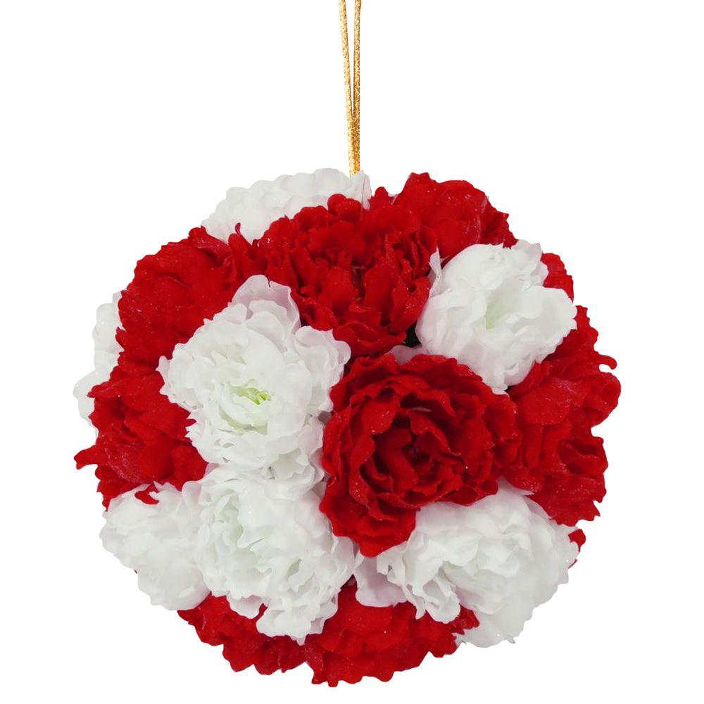 National Tree Company 126 In Glittery Peony Hanging Ball Red And