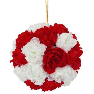 12.6 in. Glittery Peony Hanging Ball-Red and White