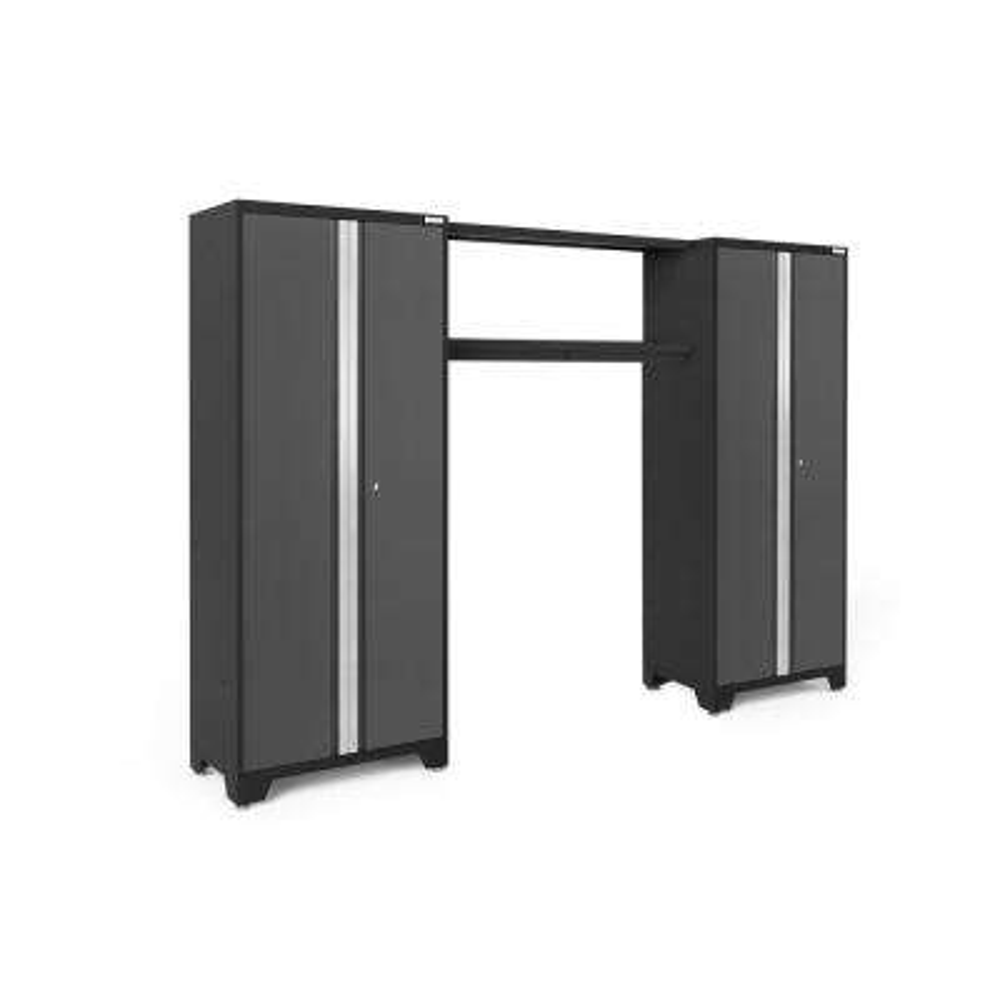Bold Series 108 in. W x 77.25 in. H x 18 in. D 24-Gauge Steel Cabinet Set in Gray (3-Piece)