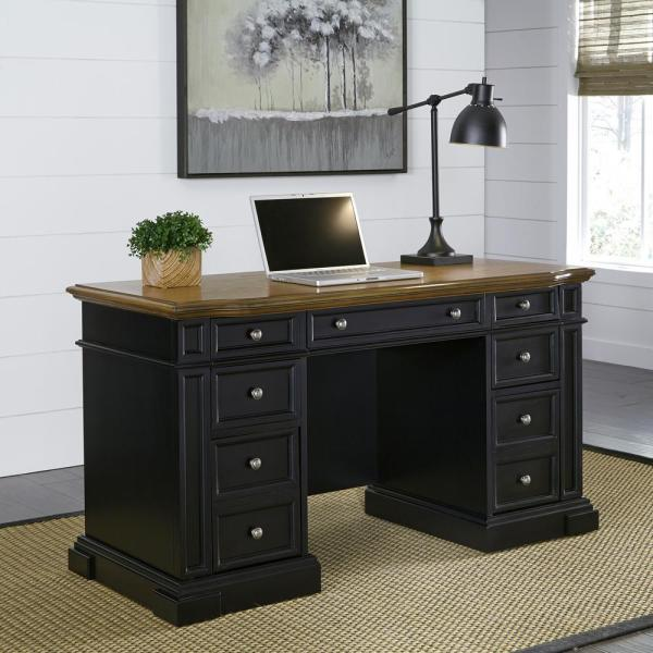 Home Styles Americana Black Desk with Storage 5003-18