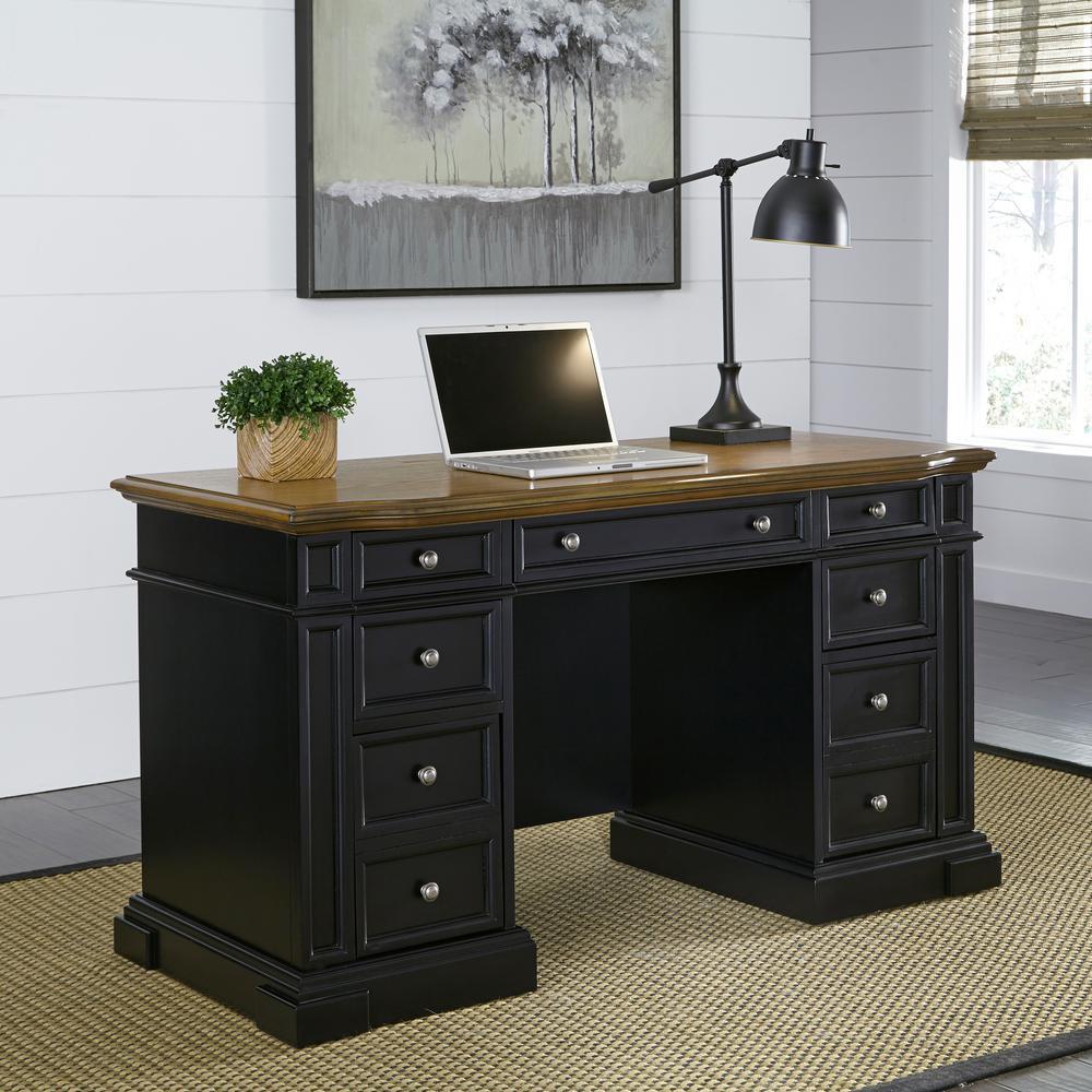 Americana Black Desk with Storage